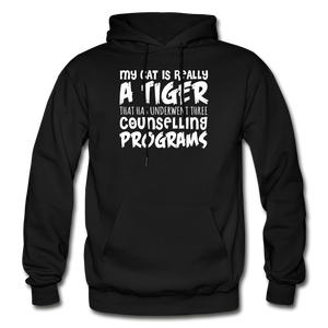 My Cat Is Really A Tiger - White - Gildan Heavy Blend Adult Hoodie - black