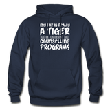 My Cat Is Really A Tiger - White - Gildan Heavy Blend Adult Hoodie - navy