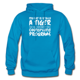 My Cat Is Really A Tiger - White - Gildan Heavy Blend Adult Hoodie - turquoise