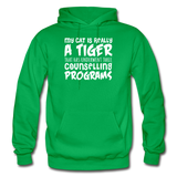 My Cat Is Really A Tiger - White - Gildan Heavy Blend Adult Hoodie - kelly green