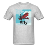 #fly - Red Biplane - Unisex Classic T-Shirt - heather gray