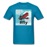 #fly - Red Biplane - Unisex Classic T-Shirt - turquoise