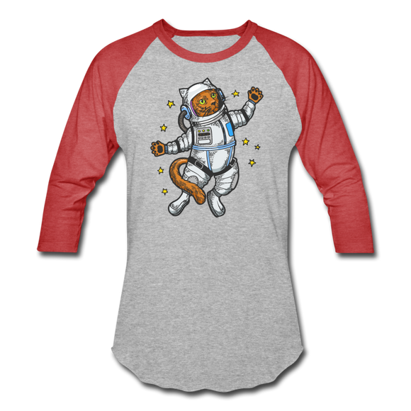 Astronaut Cat - Baseball T-Shirt - heather gray/red