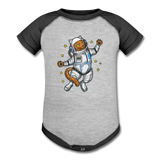 Astronaut Cat - Baseball Baby Bodysuit - heather gray/charcoal