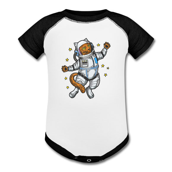 Astronaut Cat - Baseball Baby Bodysuit - white/black