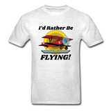 I'd Rather Be Flying - Biplane - Hanes Adult Tagless T-Shirt - light heather gray