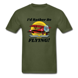 I'd Rather Be Flying - Biplane - Hanes Adult Tagless T-Shirt - military green