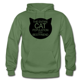 Cats - My Best Friends - Black - Gildan Heavy Blend Adult Hoodie - military green