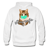 Stay Safe Cat - Gildan Heavy Blend Adult Hoodie - white
