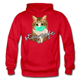 Stay Safe Cat - Gildan Heavy Blend Adult Hoodie - red