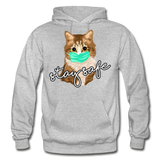 Stay Safe Cat - Gildan Heavy Blend Adult Hoodie - heather gray