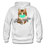 Stay Safe Cat - Gildan Heavy Blend Adult Hoodie - light heather gray
