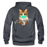 Stay Safe Cat - Gildan Heavy Blend Adult Hoodie - charcoal gray