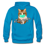 Stay Safe Cat - Gildan Heavy Blend Adult Hoodie - turquoise