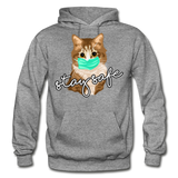 Stay Safe Cat - Gildan Heavy Blend Adult Hoodie - graphite heather