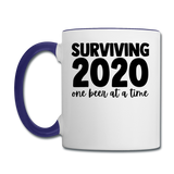 2020 - Surviving One Beer - Contrast Coffee Mug - white/cobalt blue