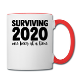 2020 - Surviving One Beer - Contrast Coffee Mug - white/red