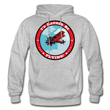 I'd Rather Be Flying - Badge - Gildan Heavy Blend Adult Hoodie - heather gray