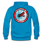 I'd Rather Be Flying - Badge - Gildan Heavy Blend Adult Hoodie - turquoise