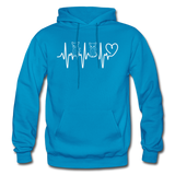 Cat Heartbeat - Gildan Heavy Blend Adult Hoodie - turquoise