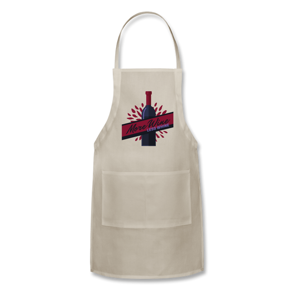 More Wine, Less Whine - Adjustable Apron - natural