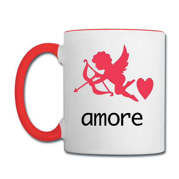 Cupid - Amore - Contrast Coffee Mug - white/red