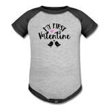 My First Valentine - Baseball Baby Bodysuit - heather gray/charcoal