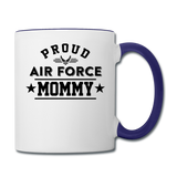 Proud Air Force - Mommy - Contrast Coffee Mug - white/cobalt blue