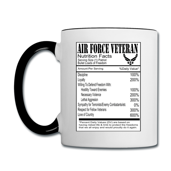 Air Force Veteran - Nutrition Facts - Contrast Coffee Mug - white/black
