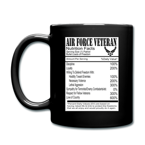 Air Force Veteran - Nutrition Facts - Full Color Mug - black