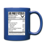 Air Force Veteran - Nutrition Facts - Full Color Mug - royal blue