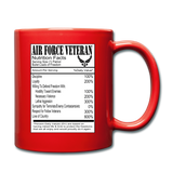 Air Force Veteran - Nutrition Facts - Full Color Mug - red