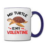 My Turtle Is My Valentine v1 - Contrast Coffee Mug - white/cobalt blue