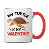 My Turtle Is My Valentine v1 - Contrast Coffee Mug - white/red