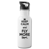 Keep Calm And Fly More - Black - Water Bottle - white