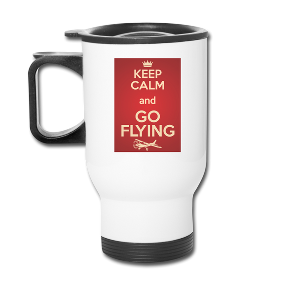 Keep Calm And Go Flying - Red - Travel Mug - white