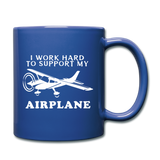 I Work Hard To Support My Airplane - White - Full Color Mug - royal blue