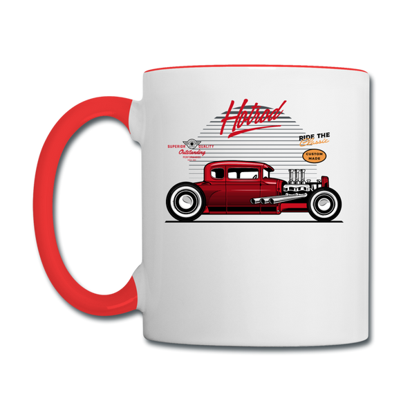 Hot Rod - Side View - Contrast Coffee Mug - white/red