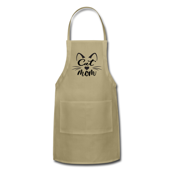Cat Mom - Black - v2 - Adjustable Apron - khaki