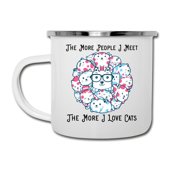 The More People I Meet - Cats - Black - Camper Mug - white