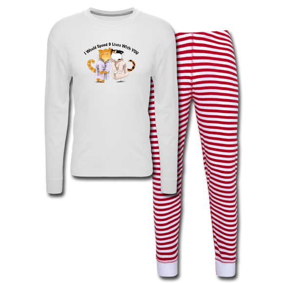 I would Spend 9 Lives WIth You - Unisex Pajama Set - white/red stripe