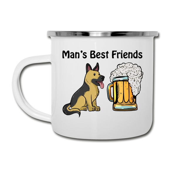 Best Friends - Dogs And Beer - Camper Mug - white