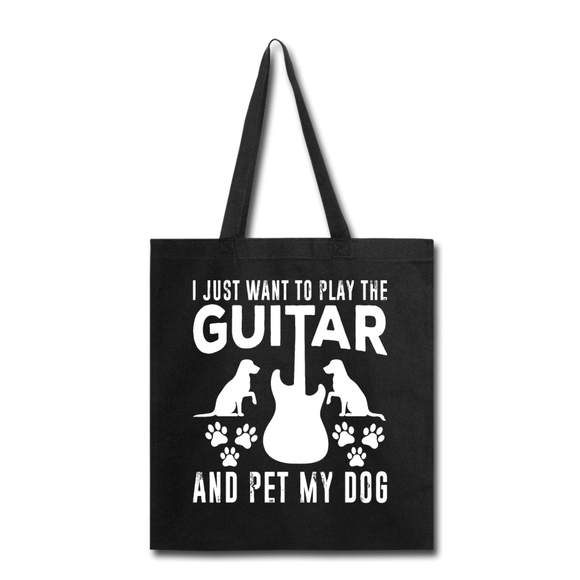 Play Guitar And Pet My Dog - White - Tote Bag - black