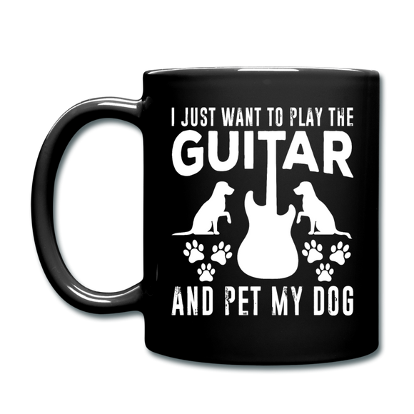 Play Guitar And Pet My Dog - White - Full Color Mug - black