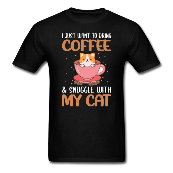 Drink Coffee And Cat - Unisex Classic T-Shirt - black