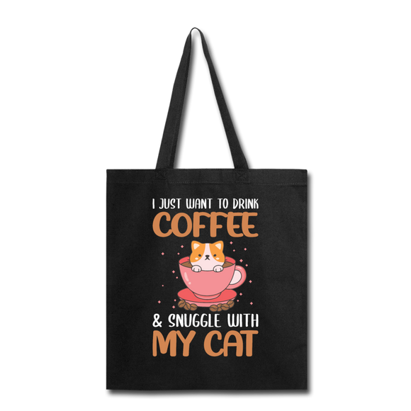 Drink Coffee And Cat - Tote Bag - black