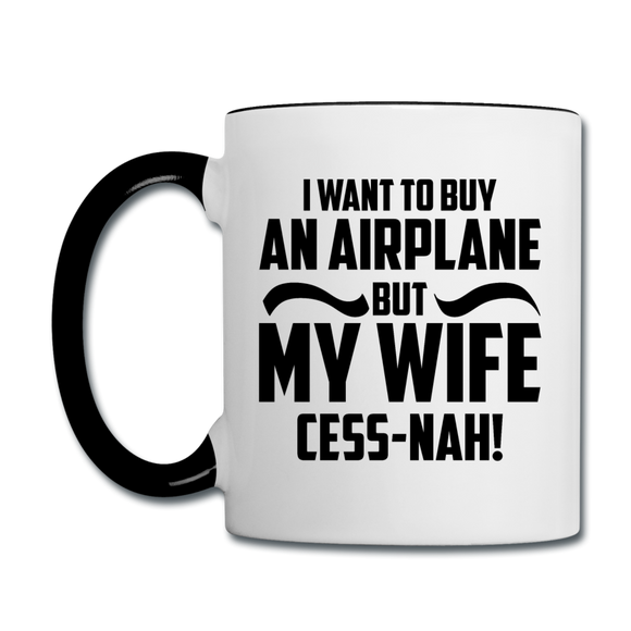 Buy An Airplace - Black - Contrast Coffee Mug - white/black