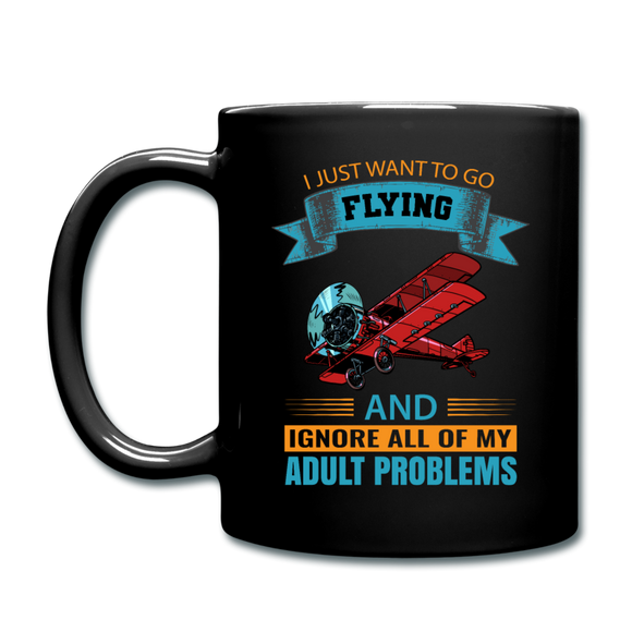Want To Go Flying - Full Color Mug - black