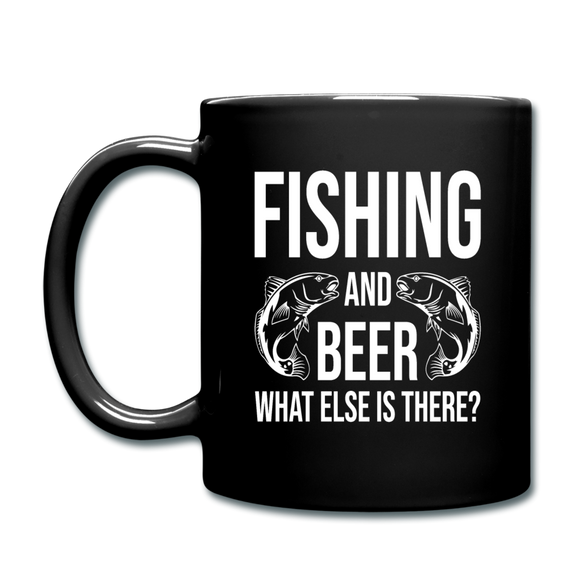 Fishing And Beer - White - Full Color Mug - black