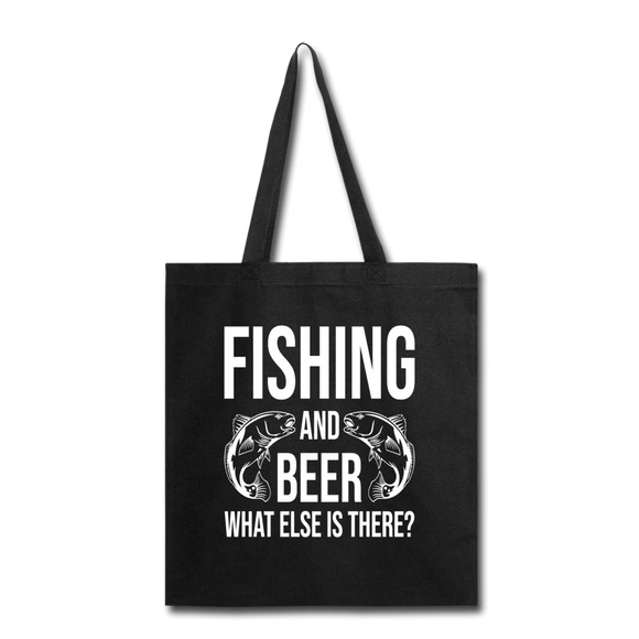 Fishing And Beer - White - Tote Bag - black